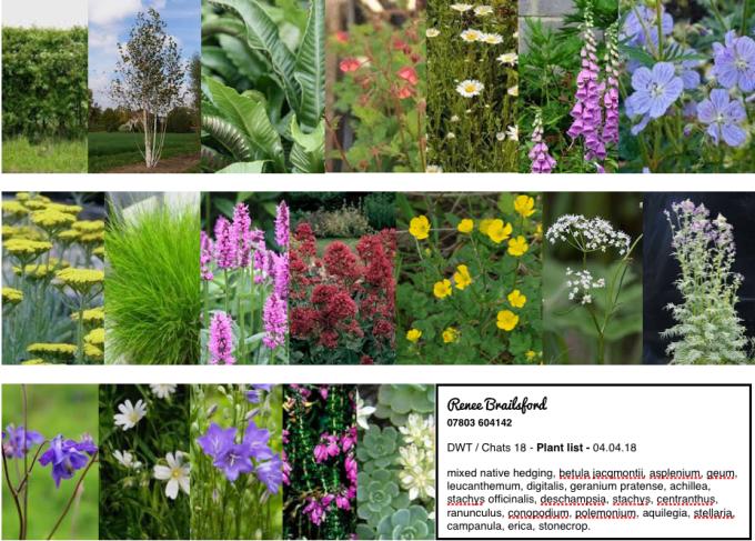 plant list RHS Chats 2018